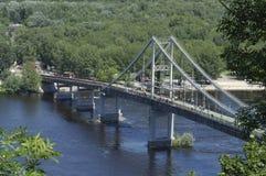 View of Dnieper river, Pedestrian bridge royalty free stock photo