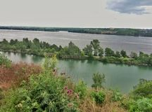 View of the Dnieper River. Quarry in the Old Kadaki Royalty Free Stock Photos