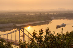 View at Dnieper with ship in morning light Stock Images