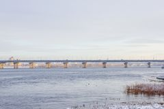 View of the Dnieper. In winter. Kiev, Ukraine. Paton bridge Royalty Free Stock Photos