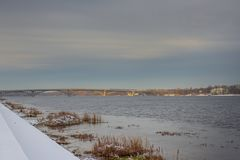 View of the Dnieper. In winter. Kiev, Ukraine. Paton bridge Royalty Free Stock Photo