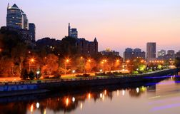 View of the Dnipro city Embankment at night. Dnepropetrovsk, Dnipropetrovsk, Dnepr city, Ukraine stock photos
