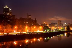View of the Dnipropetrovsk Embankment in evening Stock Photo