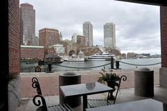 View from the dock at boston harbor Royalty Free Stock Images