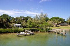 View of dock at Cabbage Key near Sanibel, Florida Royalty Free Stock Images