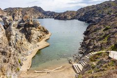 View of the dock of Cala Culip royalty free stock image