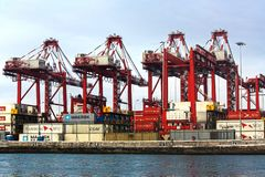 View of dock and containers in the port of Callao royalty free stock images
