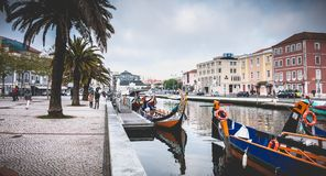 View at the dock of the famous Moliceiros of Aveiro stock photos