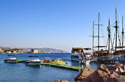 View on docked yachts in Eilat, Israel Royalty Free Stock Photography