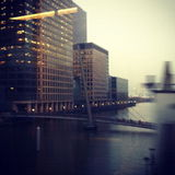 View of Docklands from the DLR. View of Docklands with movement and a sense of travel Stock Photos