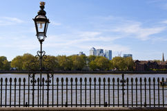 View of Docklands from Greenwich Royalty Free Stock Image