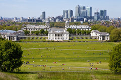 View of Docklands and Royal Naval College in London. The magnificent view from the Greenwich Observatory taking in sights such as Docklands and the Royal Naval stock images