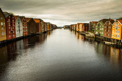 View on docks of Nidelva, Trondheim Stock Photo