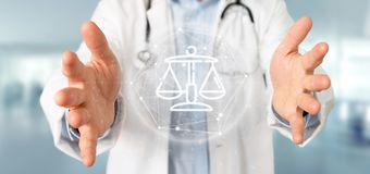Doctor holding Cloud of justice and law icon bubble with data 3d rendering