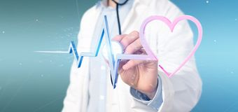Doctor holding a 3d rendering medical heart curve. View of a Doctor holding a 3d rendering medical heart curve royalty free stock image