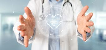 Doctor holding a medical cross in a heart 3d rendering. View of a Doctor holding a medical cross in a heart 3d rendering stock image