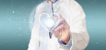 Doctor holding a medical cross in a heart 3d rendering. View of a Doctor holding a medical cross in a heart 3d rendering stock photos