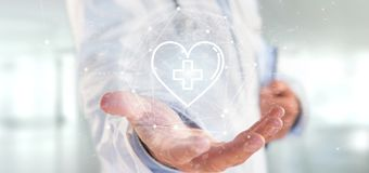 Doctor holding a medical cross in a heart 3d rendering. View of a Doctor holding a medical cross in a heart 3d rendering royalty free stock photos