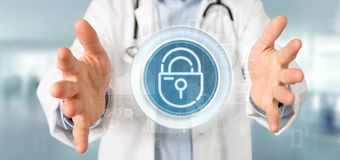 Doctor holding Security padlock wheel icon with stats and binary stock photos