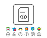 View Document line icon. Open File sign. View Document line icon. Open Information File sign. Paper page with Eye concept symbol. Calendar, Globe and Chat line Royalty Free Stock Photo