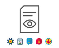 View Document line icon. Open File sign. View Document line icon. Open Information File sign. Paper page with Eye concept symbol. Report, Service and Royalty Free Stock Image