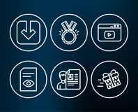 View document, Load document and Honor icons. Video content, Job interview and Present delivery signs. Set of View document, Load document and Honor icons Stock Image