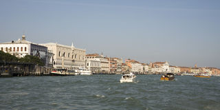 View of the Doge's palace with boats. Venice Stock Image