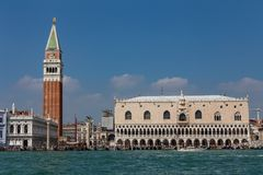 View of the Doge`s Palace and the Campanile of the Cathedral of St. Mark in Venice, Italy stock image