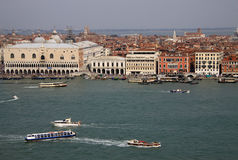 View of Doge's Palace and Grand Canal from belltower of Church of San Giorgio Maggiore, Venice, Italy Stock Images