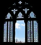 Doge`s Palace mosaic window. View from Doge`s palace over the island of San Giorgio Maggiore royalty free stock photos