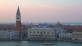 View of the Doge`s Palace and St. Mark`s Basilica in the september twilight. Venice, Italy stock video footage