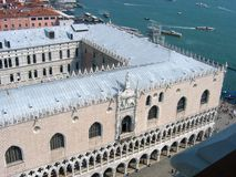 View of the Doge`s Palace. From St. Mark`s tower, Venice, Italy stock photo