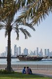 View of doha qatar with boats and skyline Stock Image