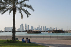 View of doha qatar with boats and skyline Royalty Free Stock Images