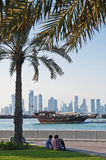 View of doha in qatar with boats and skyline Royalty Free Stock Photos