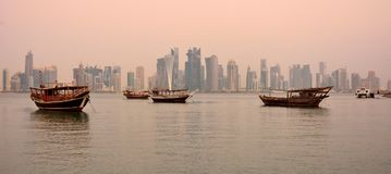 View of Doha skyline in Qatar at dawn Stock Image