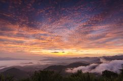 View of Doi Kard Pee at dawn with a twilight sky in Chiang Rai, Thailand. Beautiful view of Doi Kard Pee at dawn with twilight sky in Chiang Rai, Thailand stock photo