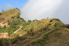 View from Doi Pha Tang,Wiang Kaen district,Chiang Rai,Thailand. Doi Pha Tang is a viewpoint on top of a high cliff over the Thai-Laotian border affording a royalty free stock photos