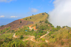 View from Doi Pha Tang,Wiang Kaen district,Chiang Rai,Thailand. Doi Pha Tang is a viewpoint on top of a high cliff over the Thai-Laotian border affording a stock images
