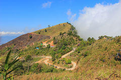 View from Doi Pha Tang,Wiang Kaen district,Chiang Rai,Thailand. Doi Pha Tang is a viewpoint on top of a high cliff over the Thai-Laotian border affording a stock photo