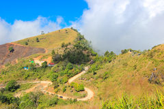 View from Doi Pha Tang,Wiang Kaen district,Chiang Rai,Thailand. Doi Pha Tang is a viewpoint on top of a high cliff over the Thai-Laotian border affording a stock photography