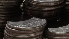 View on dolars and cents,diagonal Stock Photo