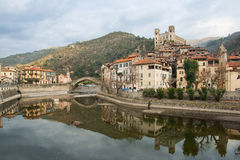 View of Dolceacqua medieval village on Nervia river Stock Image