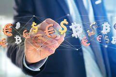 Dollar, Euro and Bitcoin signs flying around a network connectio. View of Dollar, Euro and Bitcoin signs flying around a network connection - 3d render Stock Image