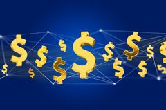 Dollar sign flying around a network connection - 3d render. VIew of Dollar sign flying around a network connection - 3d render Stock Photo