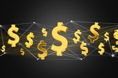 Dollar sign flying around a network connection - 3d render. VIew of Dollar sign flying around a network connection - 3d render Stock Photography