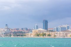 View of Dolmabahce Palace and Besiktas district royalty free stock photo