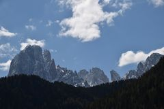 View of dolomites mountains alps ortisei val gardena italy Royalty Free Stock Image