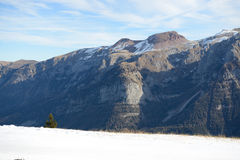 The view on Dolomiti mountains and ski slope Stock Photography