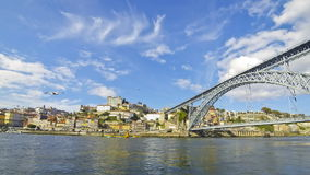 View of Dom Luis Bridge over Douro river in City of Porto, Portugal stock video footage